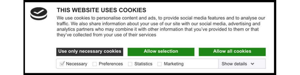 Sample cookie consent banner